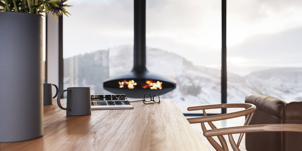 stove in contemporary foundland home