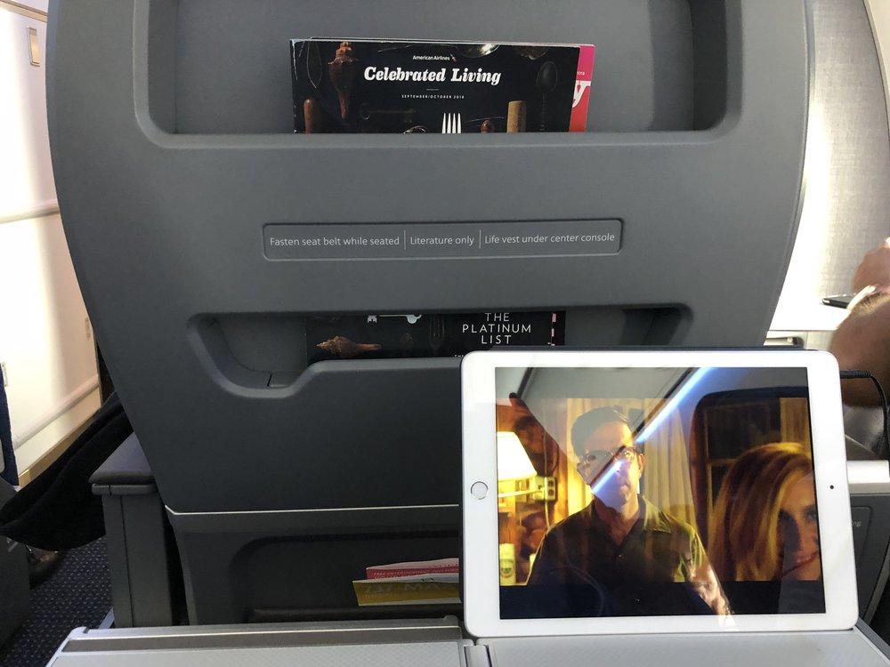 American Airlines has opted to have new aircraft delivered without seatback inflight video. They do provide nifty stands to hold tablets etc. (tablets not included)