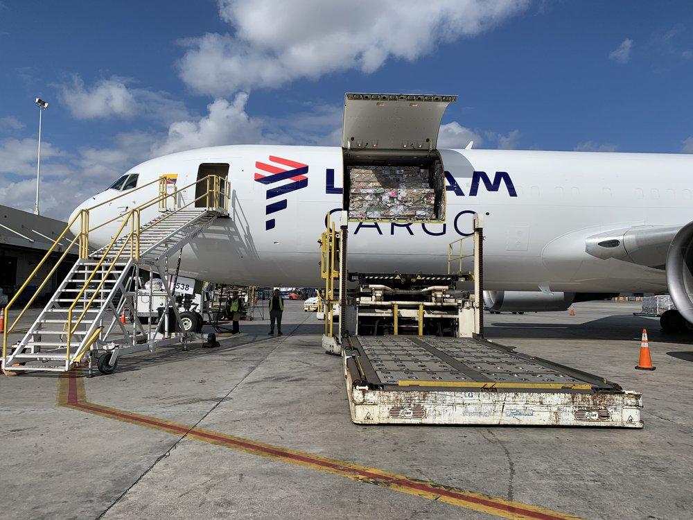 LATAM Cargo unloads flower shipment