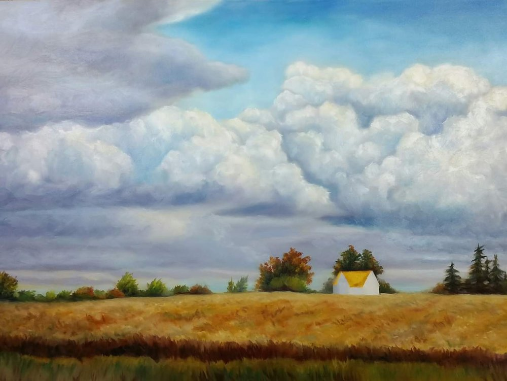 Autumn Skies, oil on canvas, in progress. Renee Forth-Fukumoto