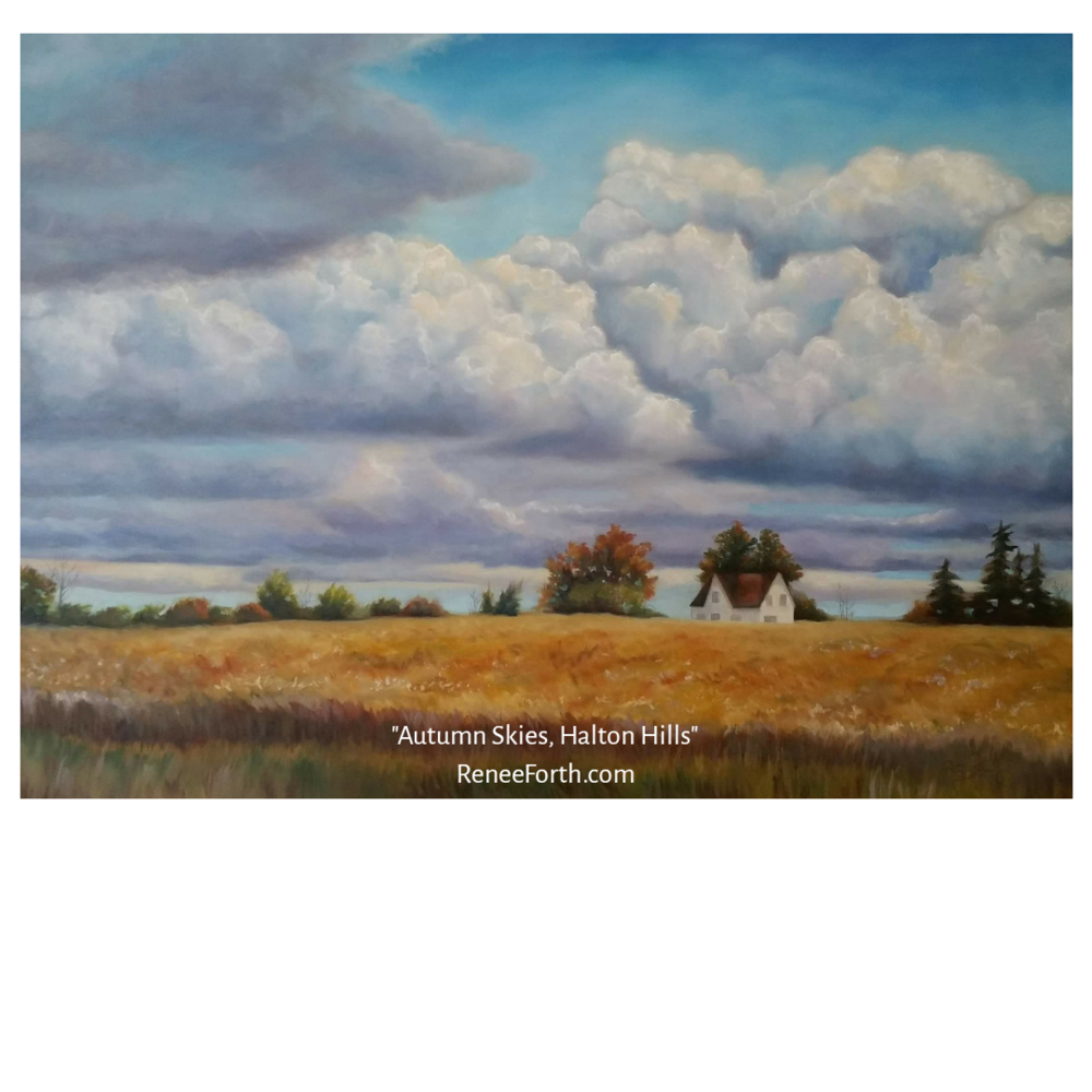 "Autumn Skies, Halton Hills, 30""×40"", oil on canvas, Copyright Renee Forth-Fukumoto.  This painting celebrates a favourite scene I enjoy every time I travel up or down 8th Line near my hometown of Georgetown, Ontario."