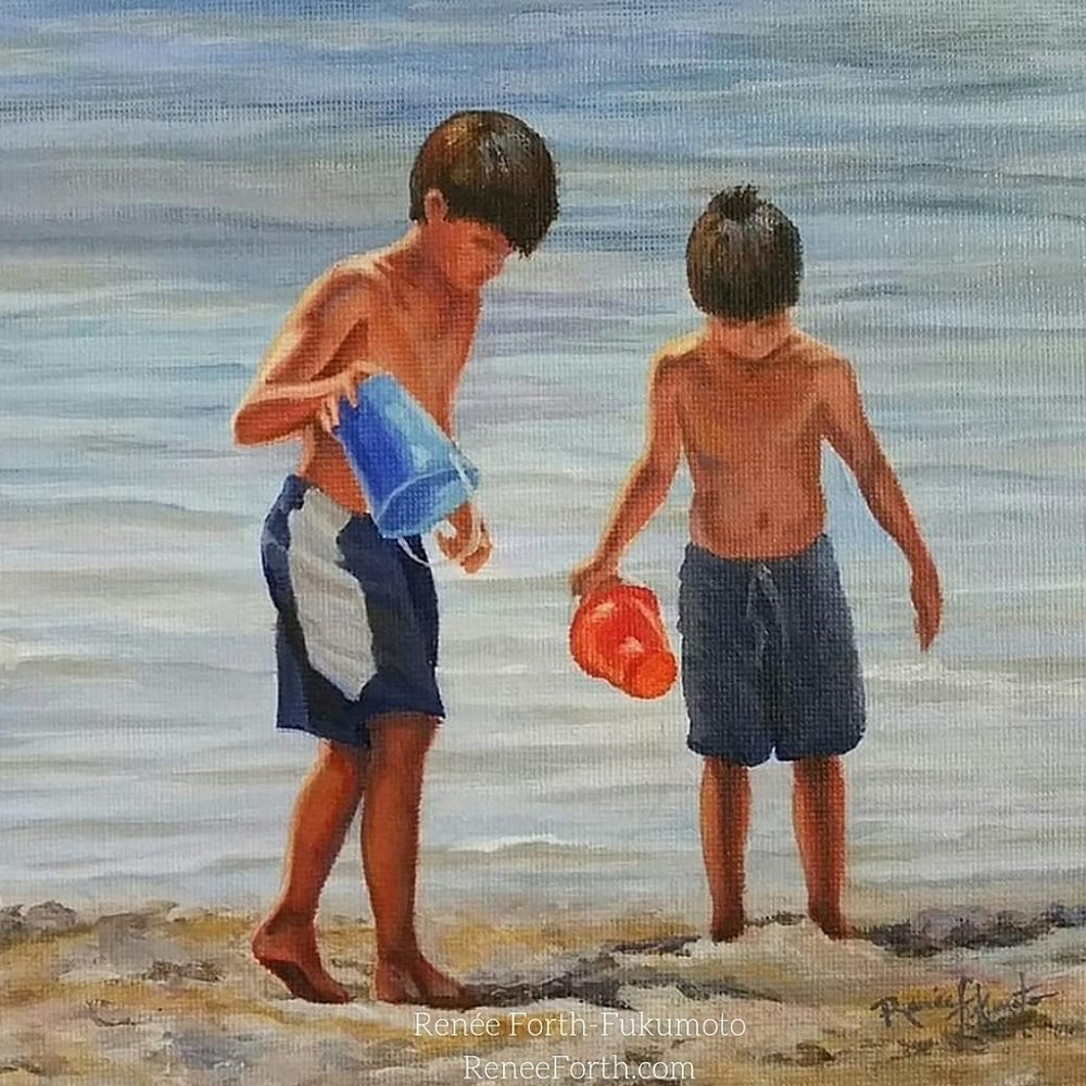 "Painted Memories series in development. Boys on the Beach (crop), oil painting, 6""×1.5""."