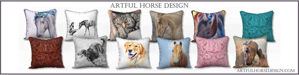 Artful Horse Design Custom Animal Art Decor Pillow Cover Collection