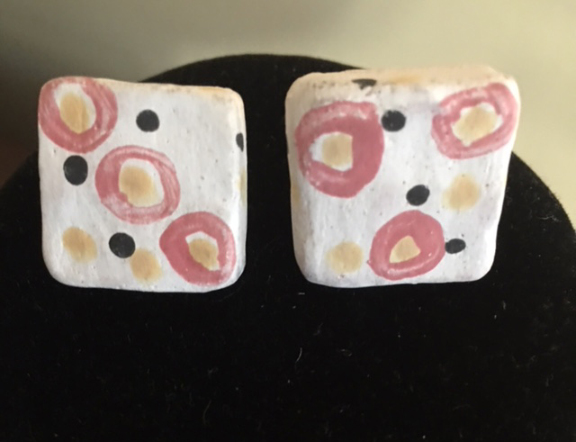Pink and White Square Earrings