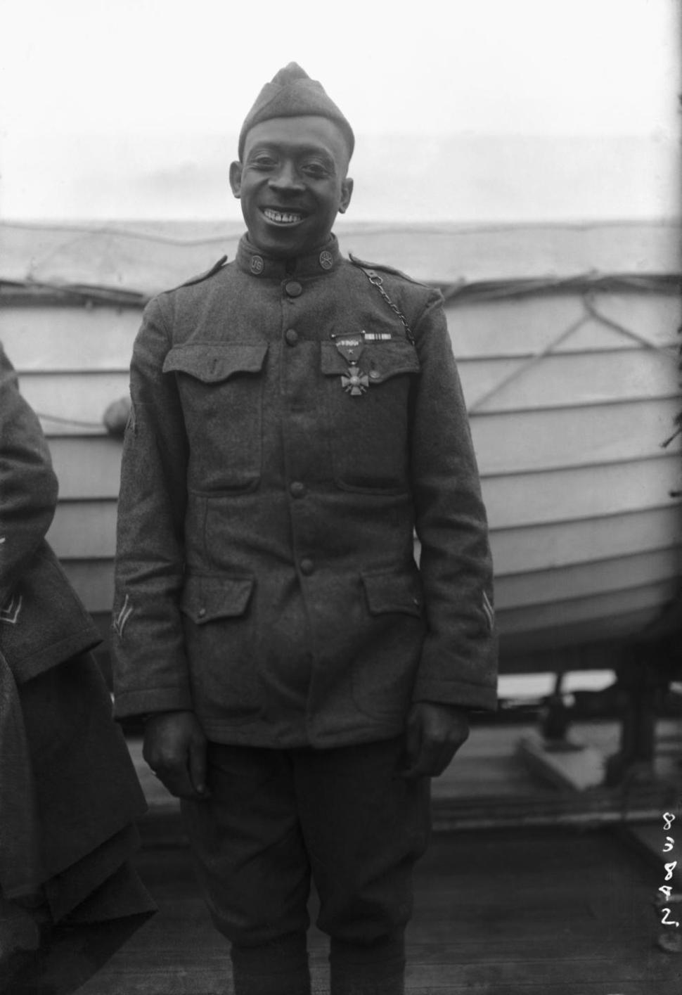 Sgt. Henry Johnson of the 369th Infantry Regiment was awarded the French Croix de Guerre for bravery during an outnumbered battle with German soldiers, Feb. 12, 1919. (Photo: Public Domain   source: army.mil  )