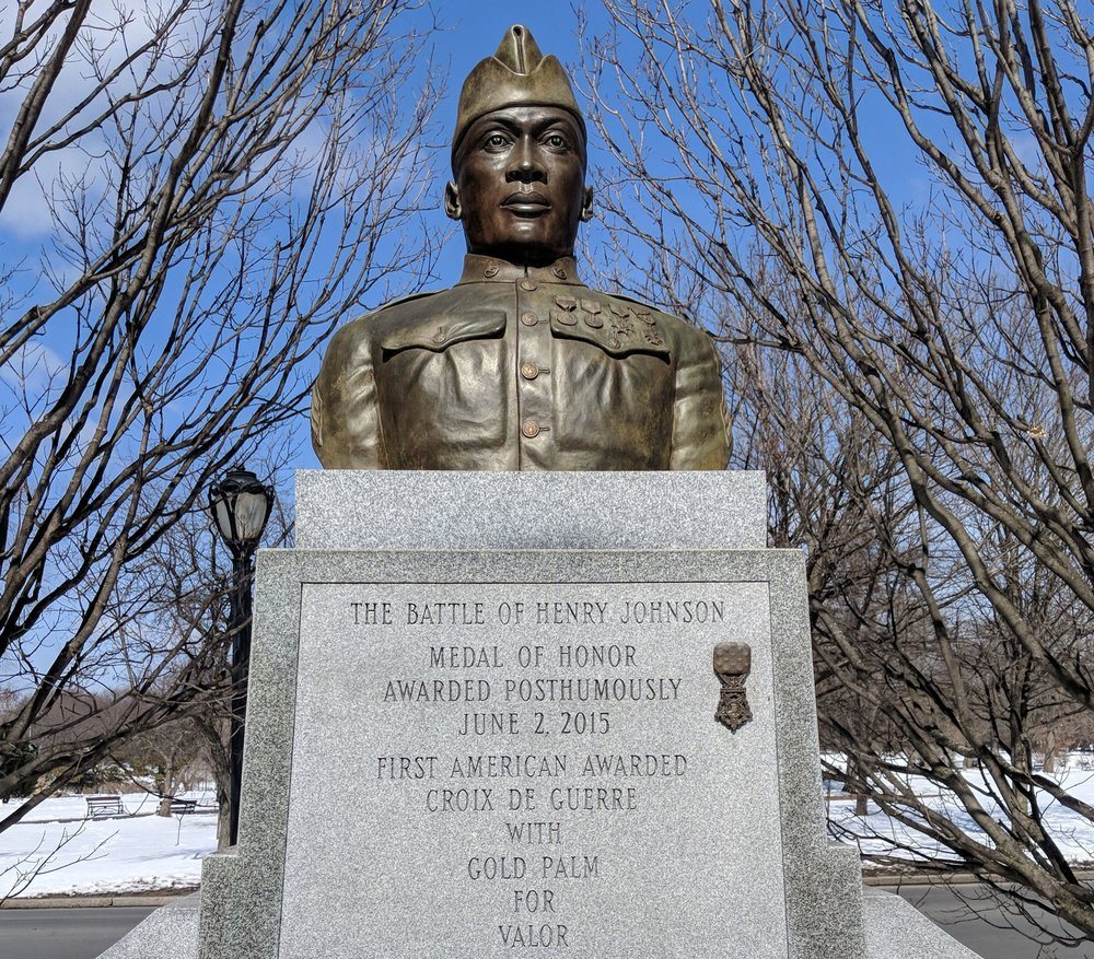 Sgt. Henry Johnson statue bust. Washington Park, Albany, NY.