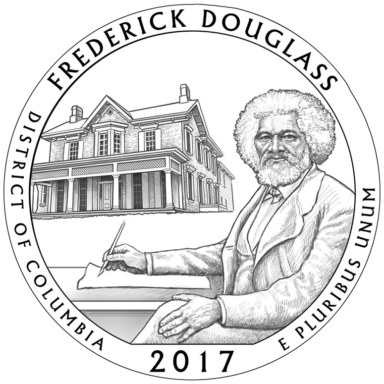 Example of coin design: Frederick Douglass National Historic Site Quarter, U.S. Mint. ( Click here to see more examples )