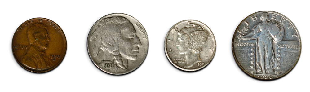 These 1930 coins (penny, nickel, dime, quarter) were minted and circulated the year Charlie & Arlene Ferris opened for business.