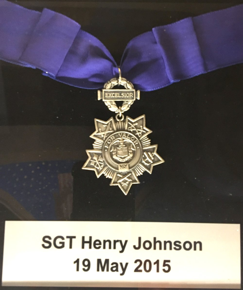 Medal of Honor posthumously awarded to Sgt. Henry Johnson by President Barack Obama in 2015, on display at the NYS Capitol building.
