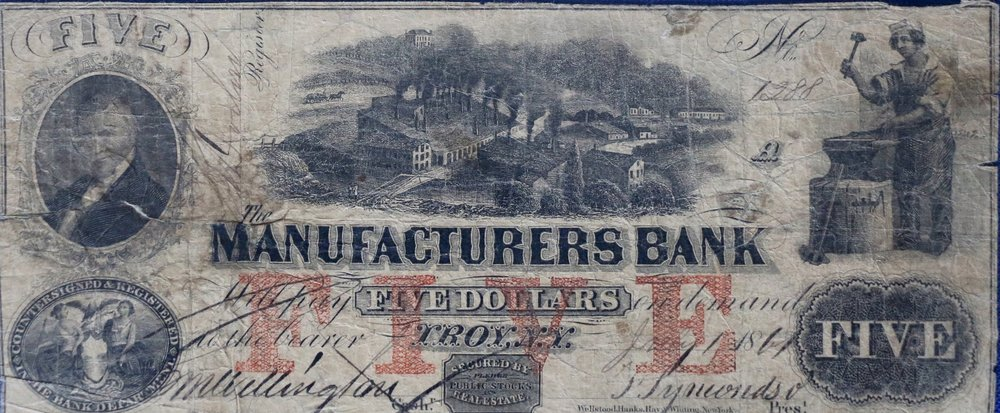 Obsolete Note: $5 Manufacturers Bank Troy, NY. Depicts Henry Burden's Ironworks.