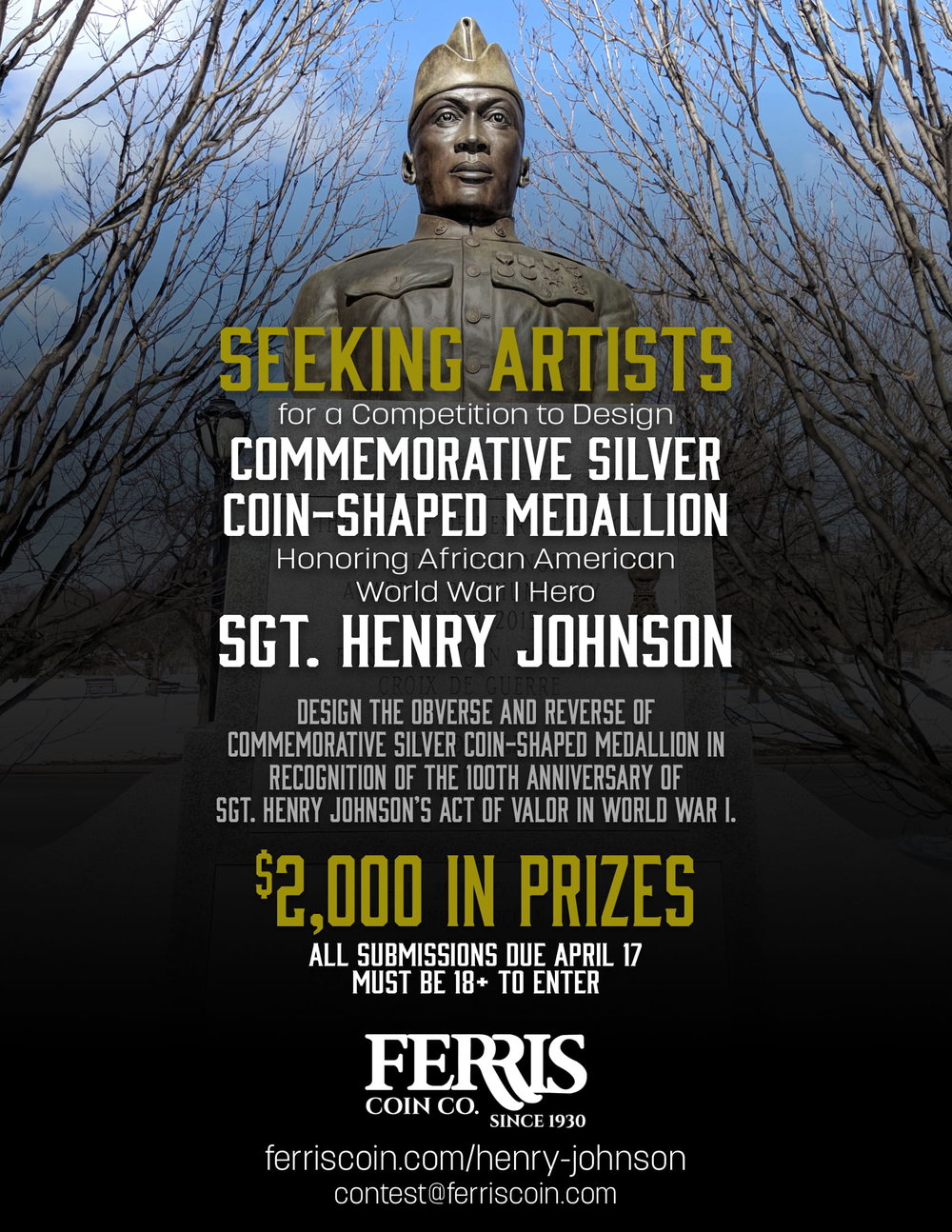 Contest flyer for Ferris Coin Co. nationwide contest to design Sgt. Henry Johnson silver commemorative.