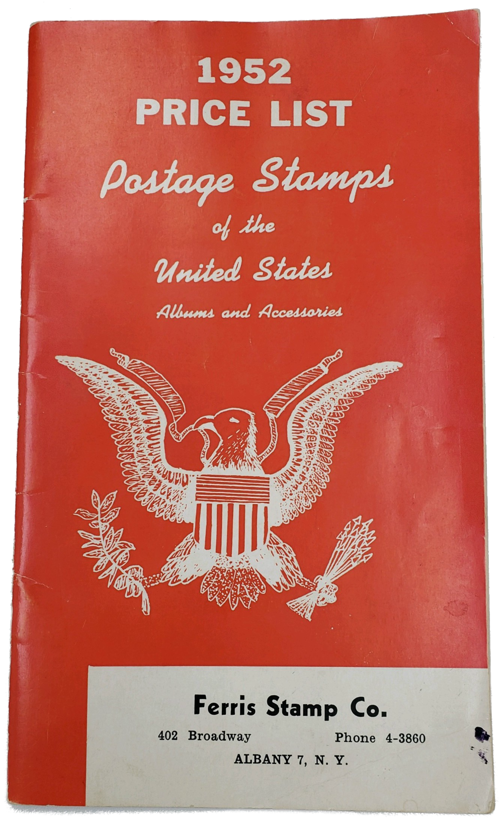 Pictured above is a 1952 price list for U.S postage stamps printed with the original Ferris Stamps business name and address. Though Ferris Coin & Jewelry no longer buys or sells stamps, we are proud of company history and roots.  A customer brought this book to our store in the summer of 2018!