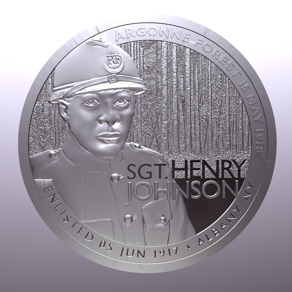 Draft of the 3D sculpt for the Ferris Coin Silver round commemorative medal for Sgt. Henry Johnson. The sculpt is based on original artwork by Chris Costello. (Provided)