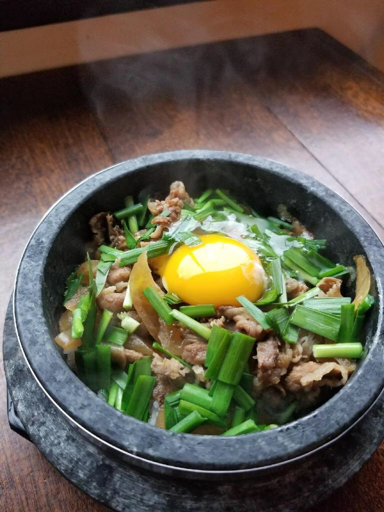 Japanese Beef Sizzling Rice Bowl $14