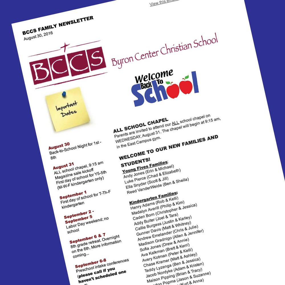 BCCS Weekly Family Newsletter -