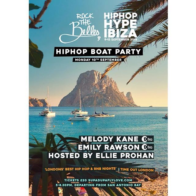 Did someone say a #HIPHOPHYPE boat party in Ibiza 👀🌅 Grab 50% off tix (£10 each) for a LTD time only using code'RTBBOAT50' & link bit.ly/RTBBoatParty! Mon 10th Sept w/ Djs @djmelodykane @emilyrawsondj  @djellieprohan 🔥 Do not miss this! . . . . . . . . . . . . . . . . . . . . . . . . . . . #baotparty #ibiza #ibiza2018 #ibiza❤ #hiphop #hiphophype #hiphophypeibiza #rockthebelles #sanantonio #ibizatown #playdenbossa #newhiphop #mambo #sunset #love #laugh #cocktailes #sunshine #relax #party #hiphopfestival #yoga #hiphopyoga #ibizarocks #stk #stkibiza