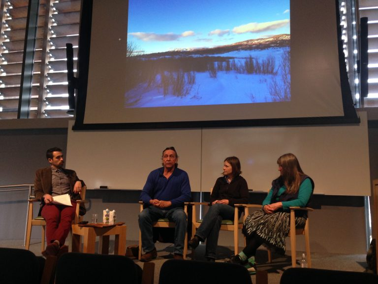 Manuel Trujillo, Emily Olson, and Mary Stuever participating in a panel discussion at Yale University.