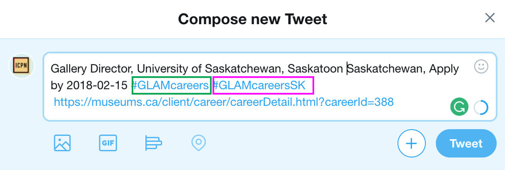 Using both #GLAMcareers hashtag and #GLAMcareersSK in a tweet about a job posting in Saskatchewan.