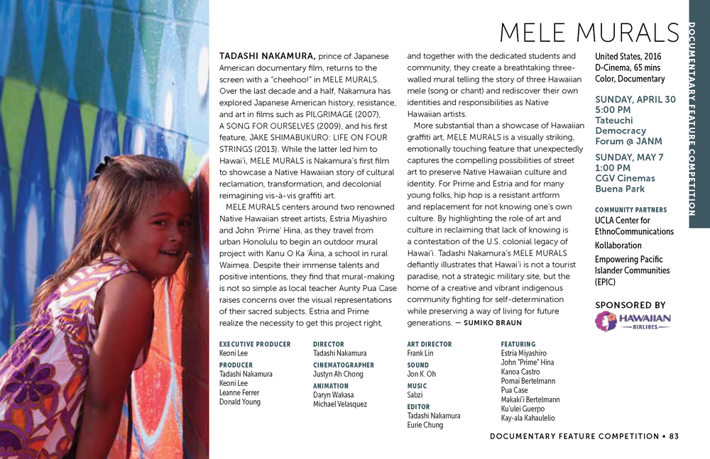 LAAPFF 2017 Program Notes: MELE MURALS