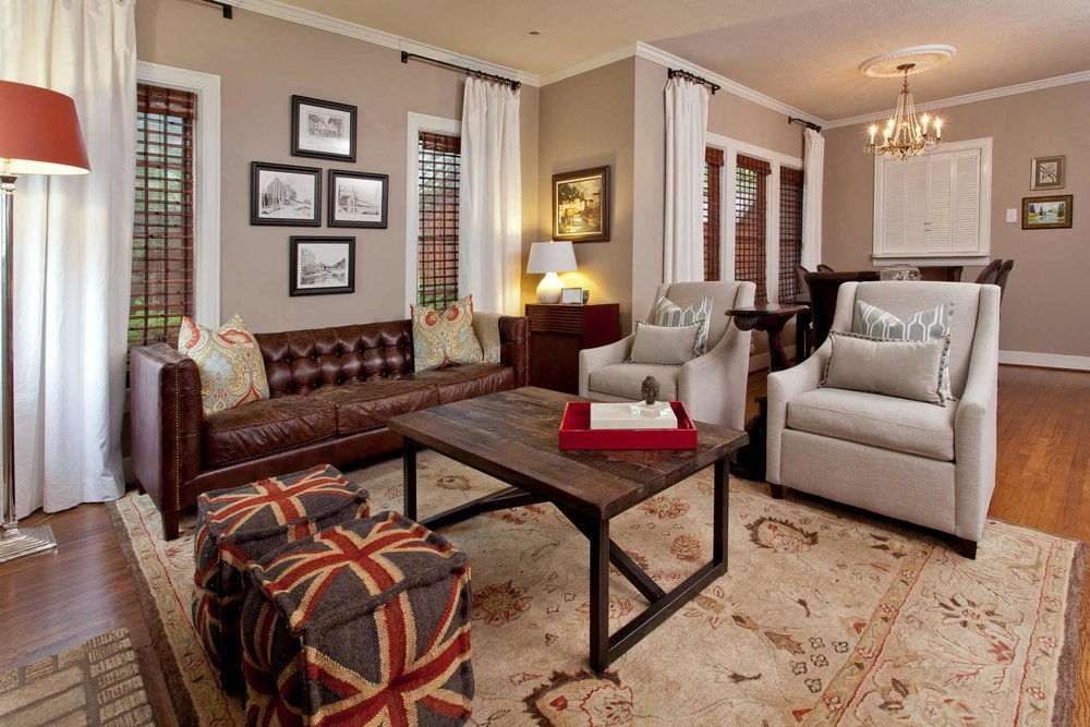 Cozy layout and a mix of textures create a warm family space.