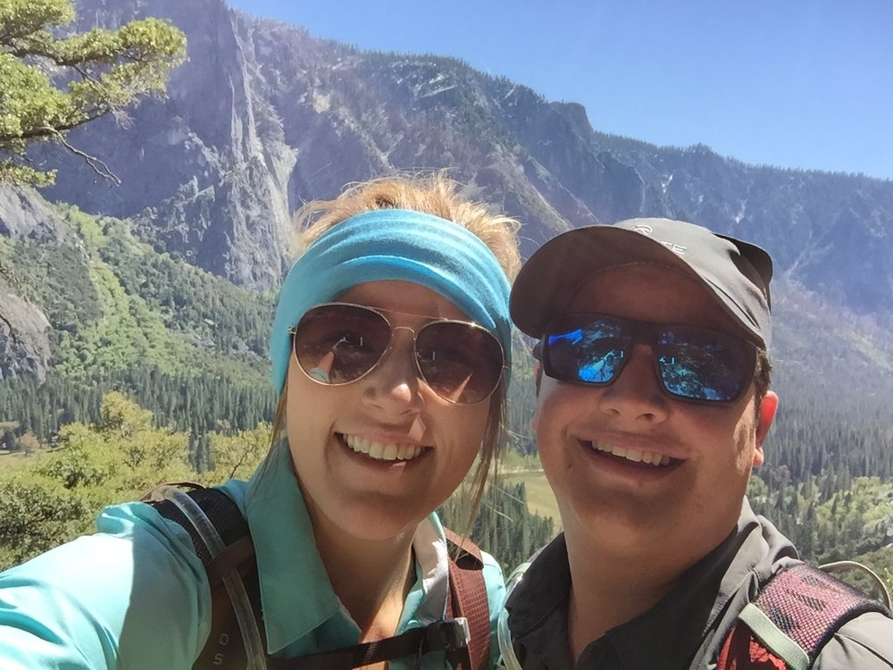 Me and my wife enjoying a long hike through Yosemite National Park during our honeymoon.