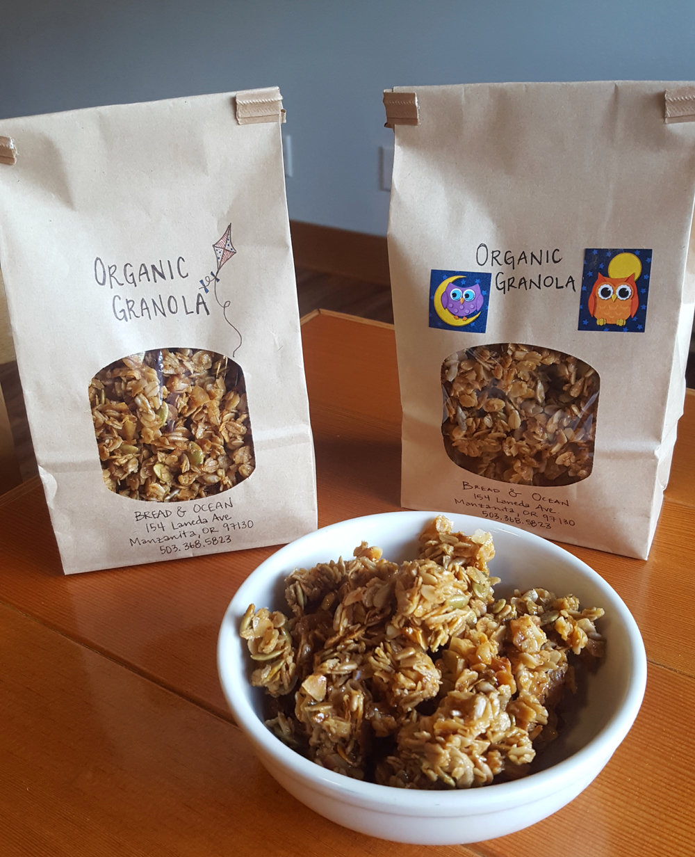Homemade Organic Granola comes in a one pound bag for $10.00 or come have a Granola Bowl with fresh fruit and yogurt (or milk) for $9.00.