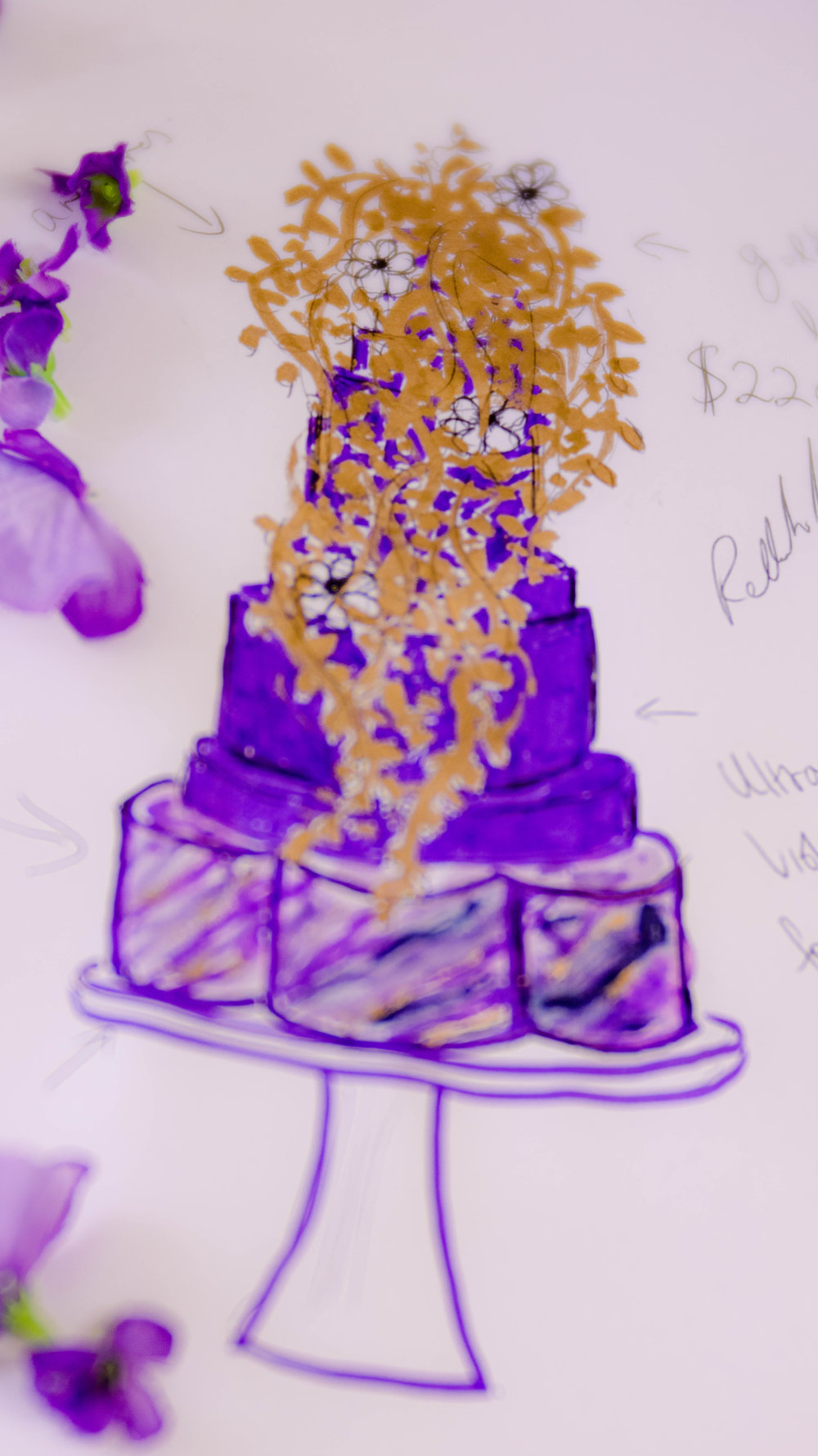 Sketching the design allows us to refine the details - The inspiration photo was transformed into the cake design during the sketching process and consultation.