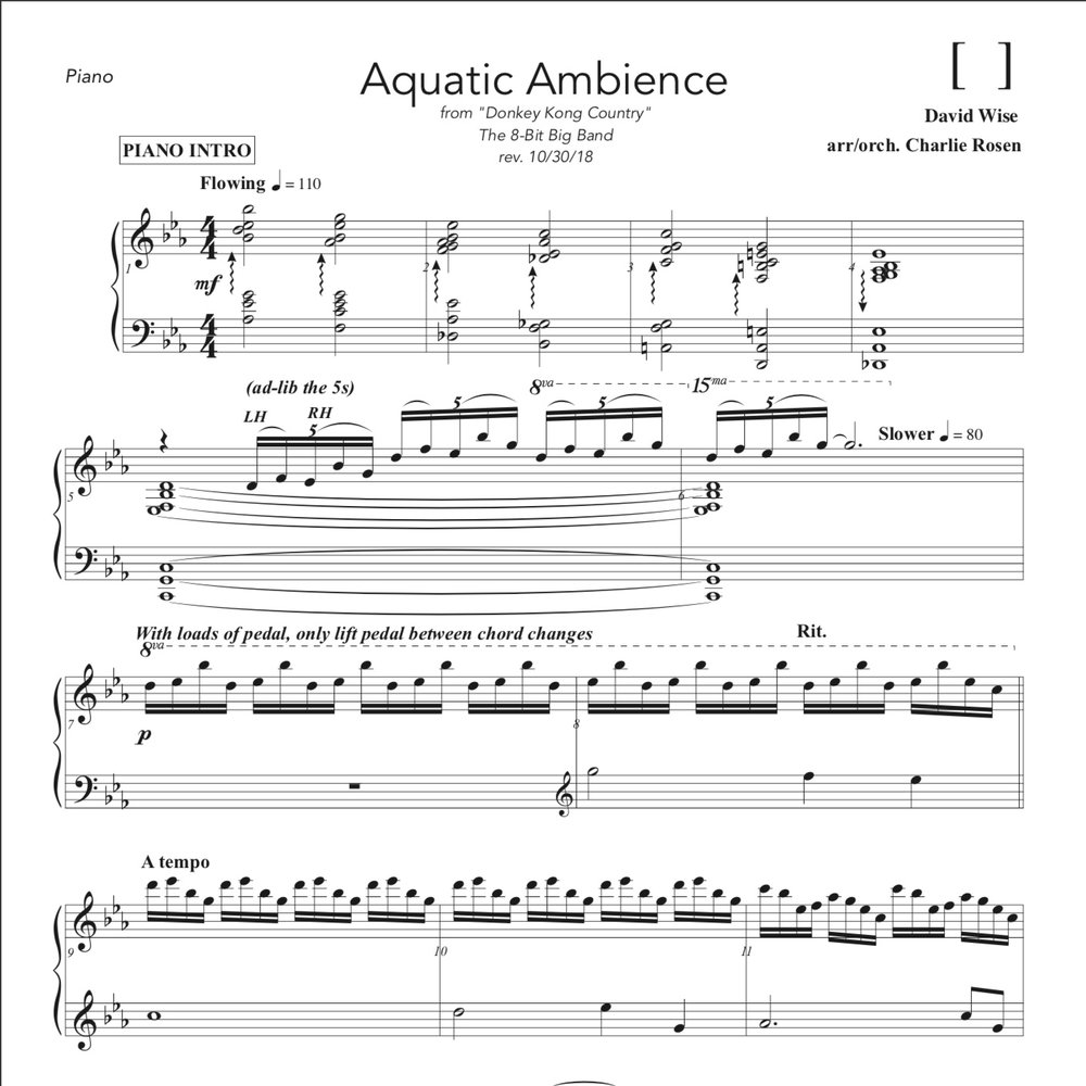 "Aquatic Ambiance - Piano Part   Sheet music for the Piano feature part from our arrangement of ""Aquatic Ambiance"" from Donkey Kong Country.   Originally performed by ""Smart Game Piano""'s - Sydney Kjerstad"