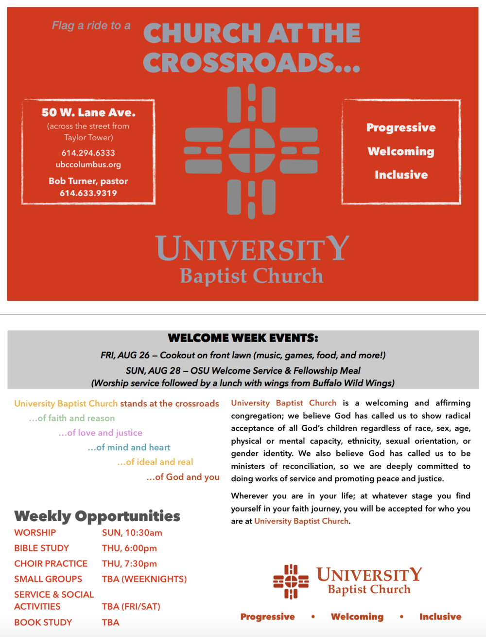 Welcome Week Handout, August 2016