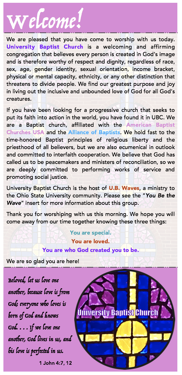 University Baptist Welcome Message