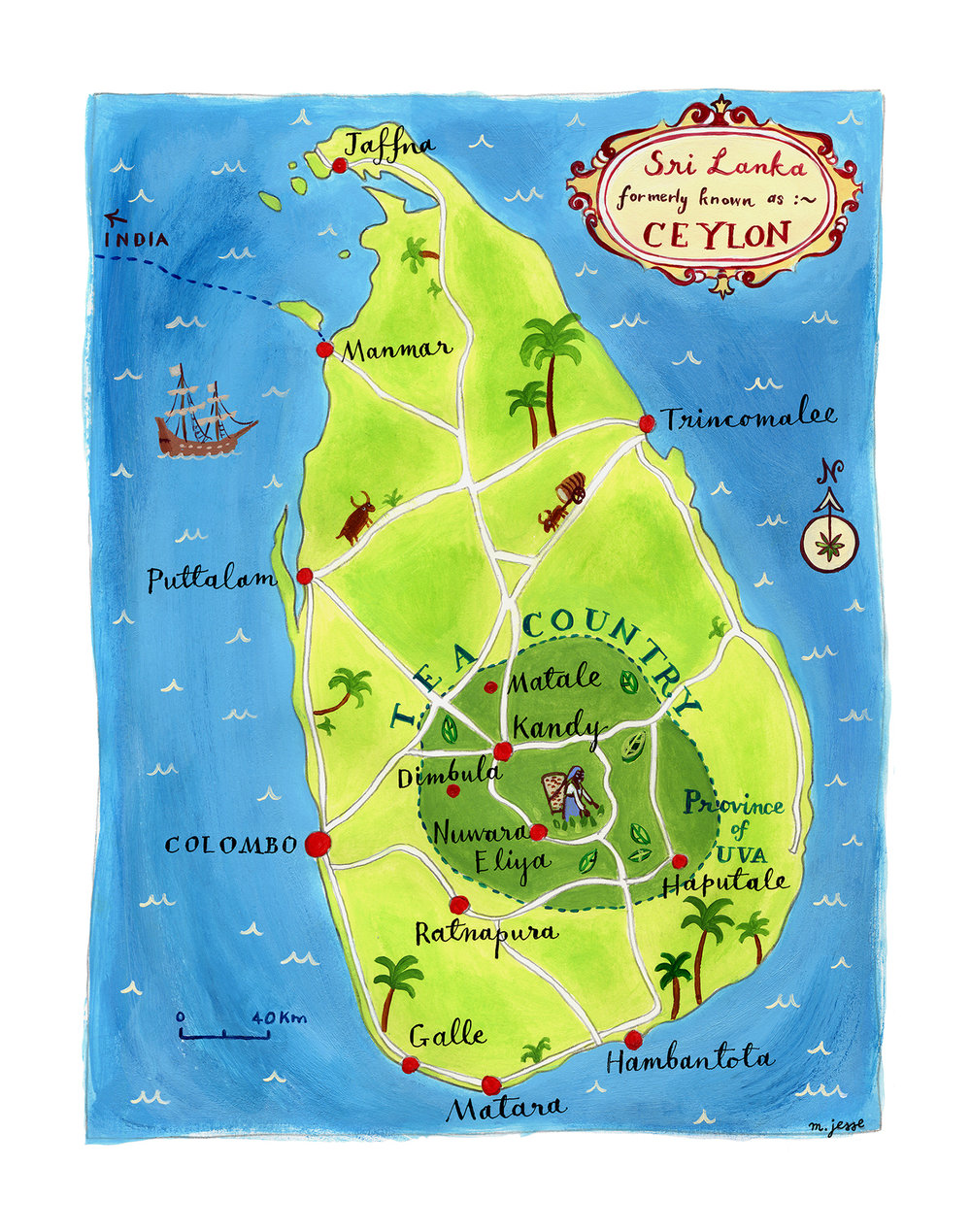 Sri Lanka tea map
