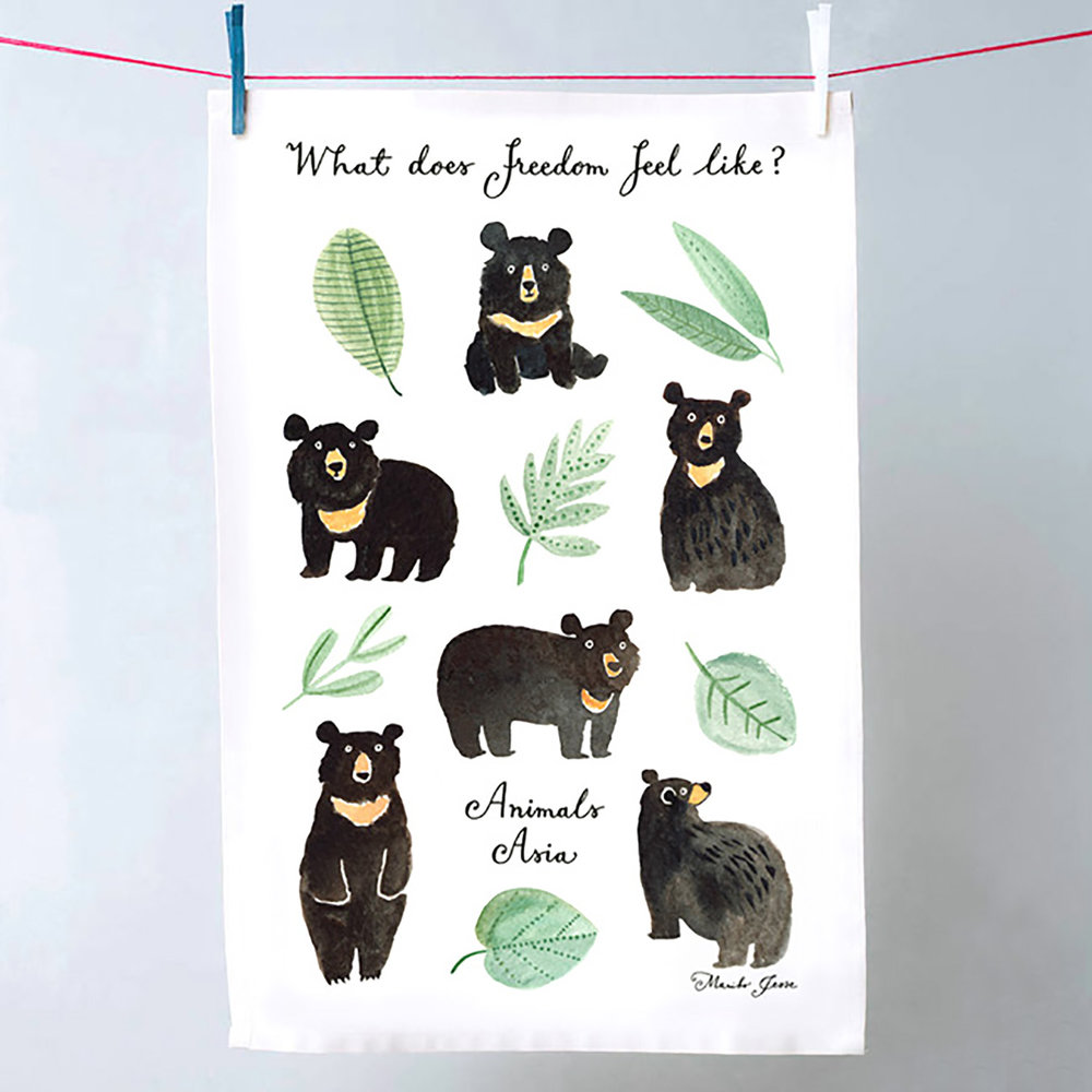 animals asia tea towel
