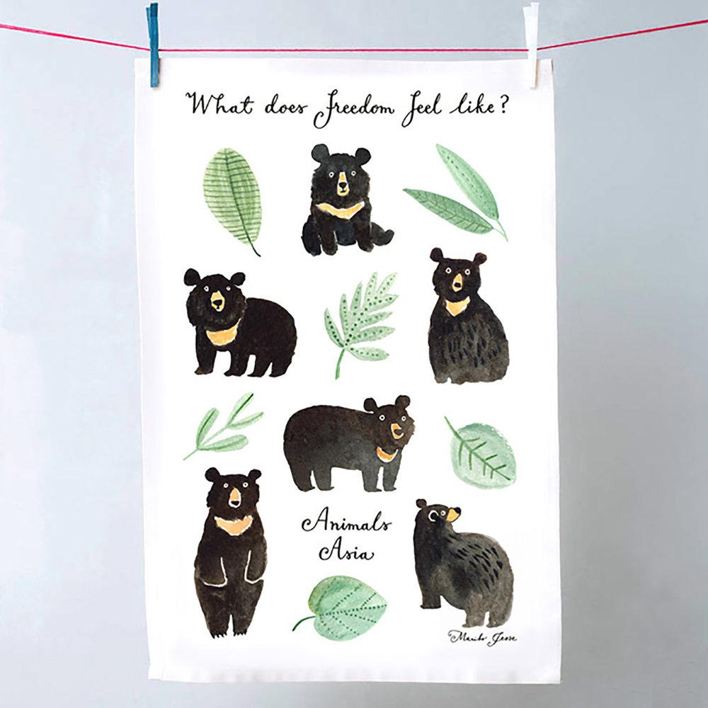 animals asia tea towel