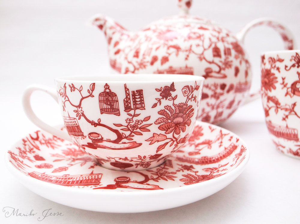 Hong Kong toile collection ceramics