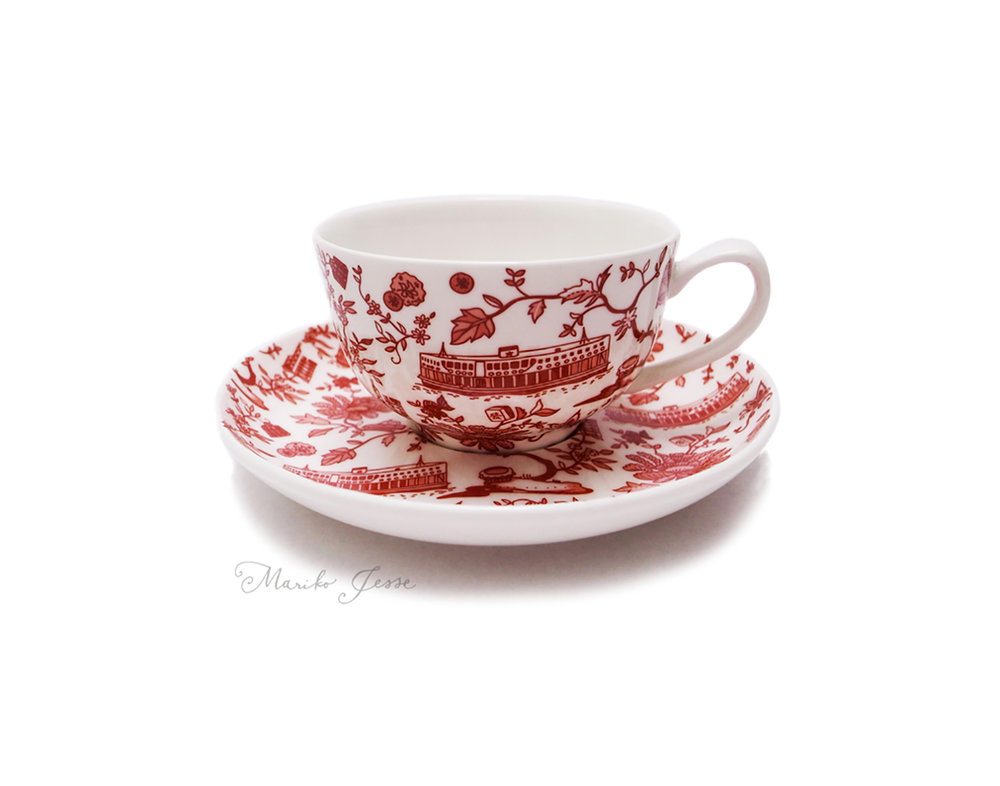 teacup and saucer in HK toile collection