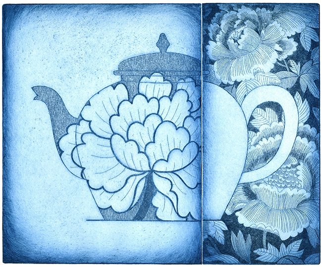 Three peonies (blue)