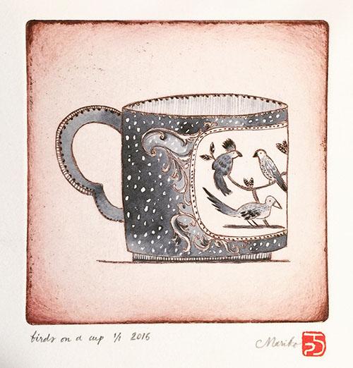 bird on a cup