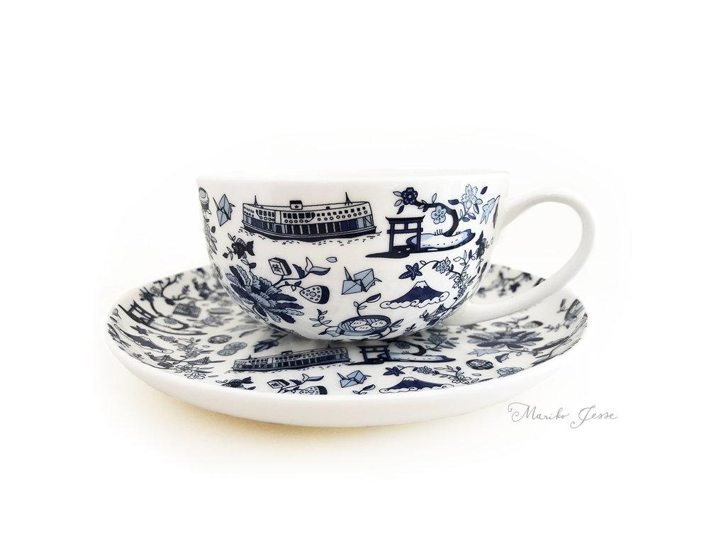 HK X Japan toile teacup