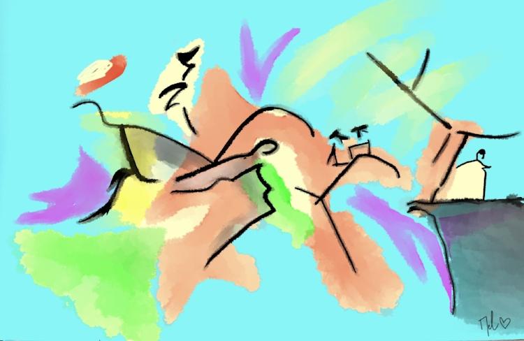 Dessin inspiré d'un tableau de Kandinsky :)
