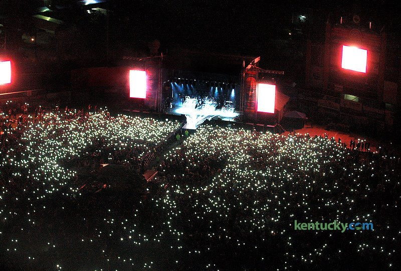 Ariel view with fans holding up their cellphone flashlights as Florida Georgie Line played at Red, White, & Boom at Whitaker Bank Ballpark in Lexington, Ky., Sunday evening, September 4, 2016.
