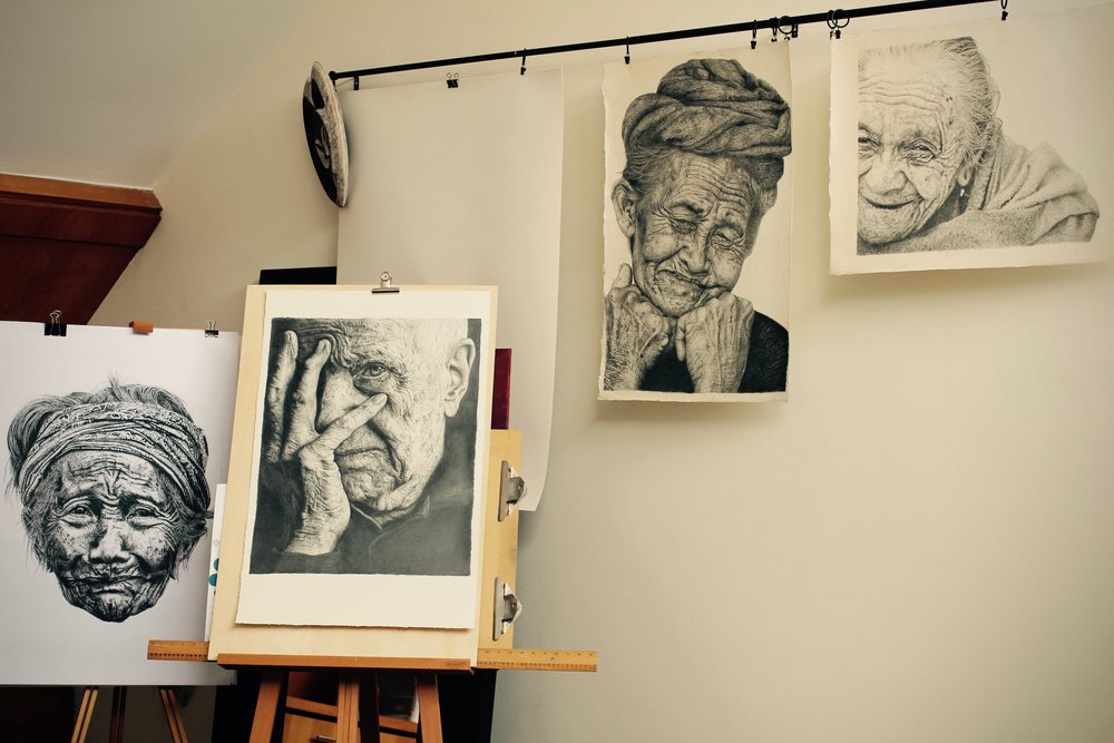 Walls of my studio - images from the 'Lines of Time - Wisdom of the Aged' series