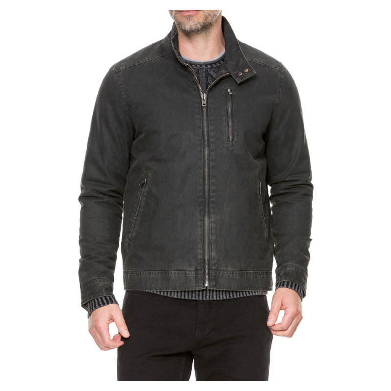 - A clean-lined harrington jacket in a distressed shower-repellent canvas. A versatile and iconic style rooted in our outdoor heritage. The robust PU coated fabric is balanced with a straight cut and sleek zip pockets for a streamlined look.$348.00