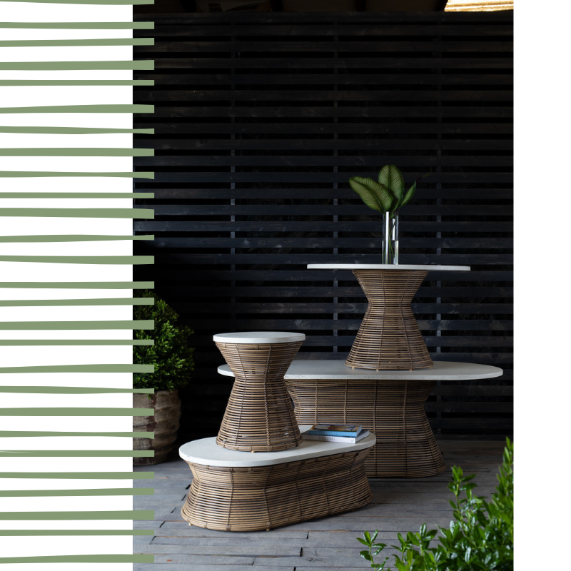 #liveoutside - The Harris Collection is crafted from sleekly sophisticated Superstone composite that contrasts beautifully with the warm wicker base. The polished tabletop is exceptionally resistant to environmental elements for long-lasting enjoyment and minimal maintenance.