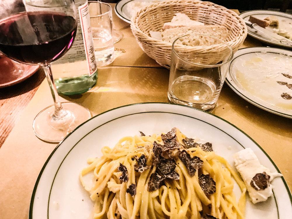 Wine and truffle pasta -