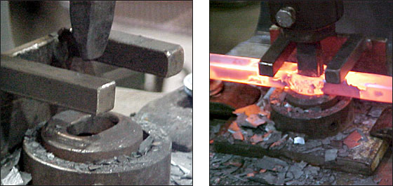 Tooling used in the flypress to open the slit drifted hole, and fingers to strip material from the punch.       -