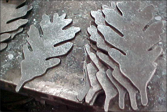 The process begins with plasma cut leaves. -