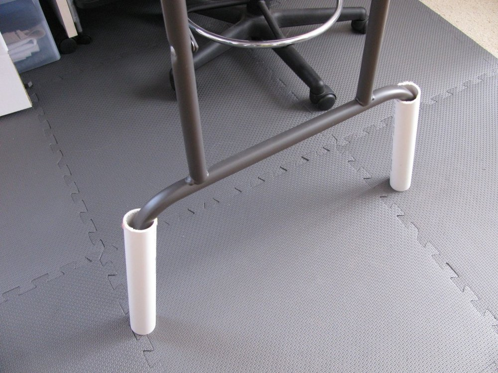 PVC table riser, padded flooring