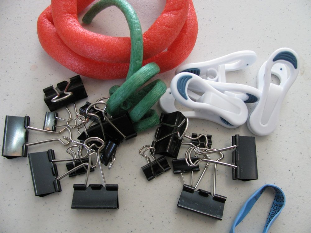 Binder clips, Foam-padded wire, hanger clips, rubber bands