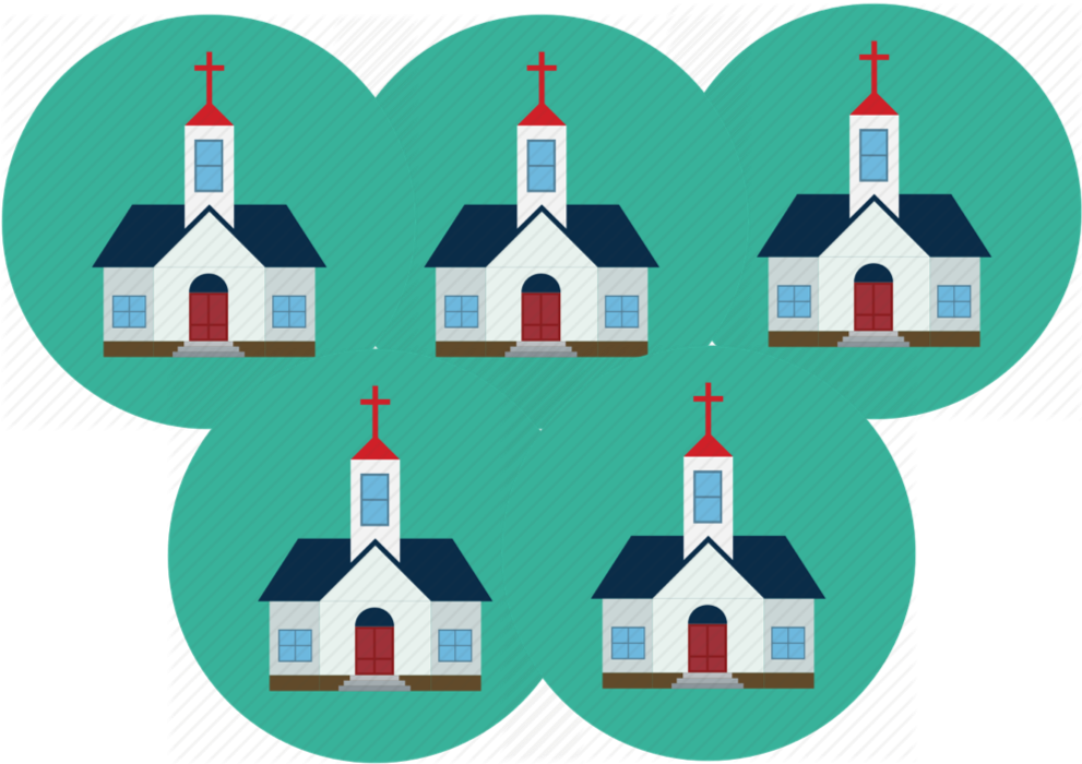 5 churches giving $300 five times -