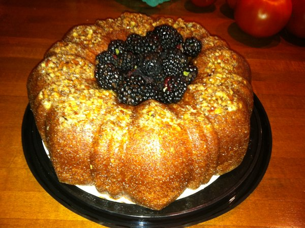 - Blackberry CakeWith its beautiful color and the sweetest flavor, our blackberry wine cake is an orchard favorite. Mixing wine into cakes before baking is an age old technique to create moist, flavorful deserts. The wine's alcohol evaporates in the baking process, and most people who try our blackberry wine cake cannot pinpoint the unique flavor, but they usually ask for seconds. This cake is perfect for all and any occasion! Available: May-JulyPrices: Slice: $2.75; 1/2 Cake: $10.50; Whole Cake: $18.95